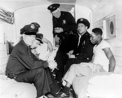 Paddy Wagon Photograph - Policemen And Wounded African American by Everett