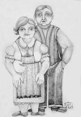 Drawing - Polish Couple by Rachel Hershkovitz
