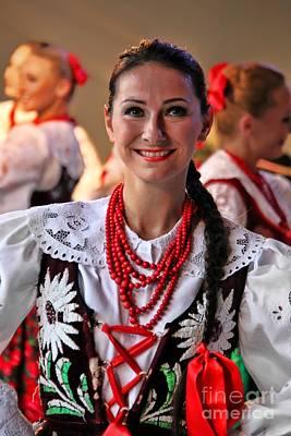 Coral Necklace Photograph - Polish Folk Dancing Girl by Mariola Bitner