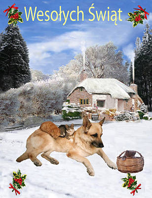 Polish German Shepherd Holiday Art Print