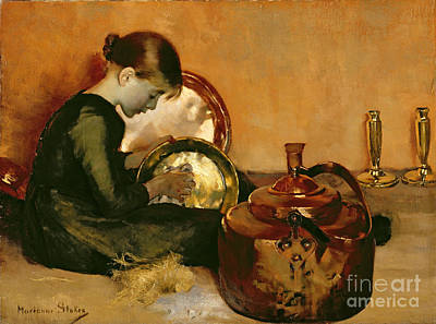 Polishing Pans  Art Print by Marianne Stokes