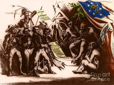 Political Cartoon Of The Confederacy Art Print