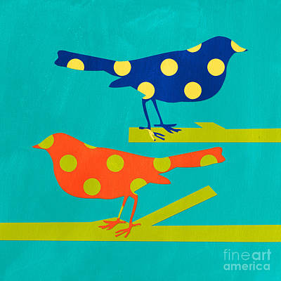 Animal Mixed Media - Polka Dot Birds by Linda Woods
