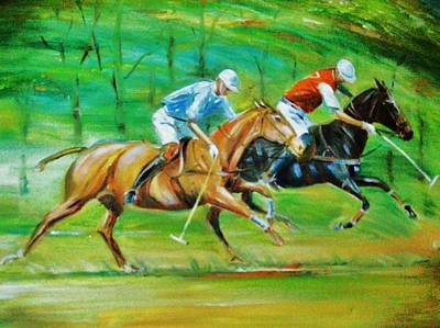 Polo Horses Art Print by Unique Consignment