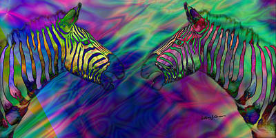 Polychromatic Zebras Art Print by Anthony Caruso