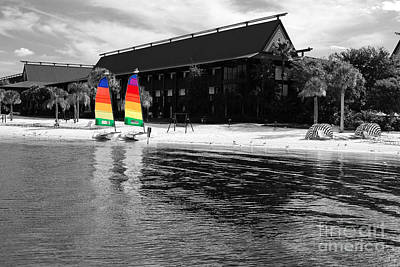 Photograph - Polynesian Resort Beach Walt Disney World Prints Color Splash Black And White by Shawn O'Brien