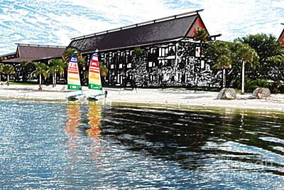 Digital Art - Polynesian Resort Beach Walt Disney World Prints Colored Pencil by Shawn O'Brien