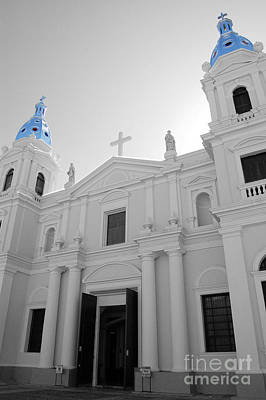 Photograph - Ponce Puerto Rico Cathedral Of Our Lady Of Guadalupe Color Splash Black And White by Shawn O'Brien