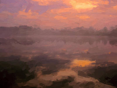 Fog Painting - Pond At The Kraaiven On An Early Autumn Morning by Nop Briex