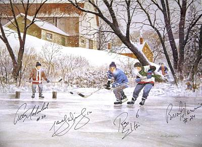 Canadian Heritage Mixed Media - Pond Hockey by D R Laird