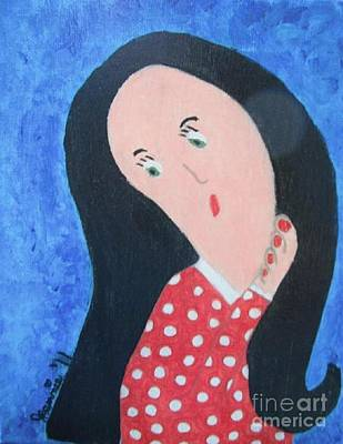 Pondering Black Haired Girl Original by Jeannie Atwater Jordan Allen