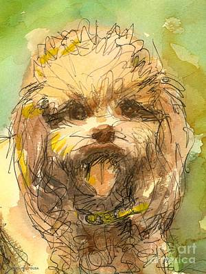 Painting - Poodle-watercolor by Gordon Punt