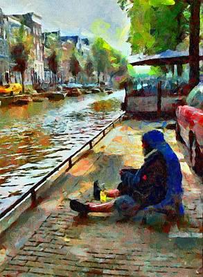 Amsterdam Digital Art - Poor In Amsterdam by Yury Malkov