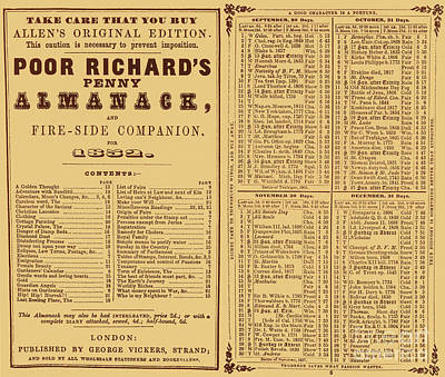 Poor Richards Penny Almanack, 1852 Art Print