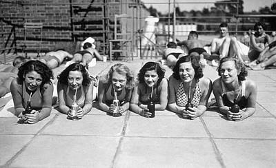 Row Of Bottles Photograph - Pop Sucking Gals by Topical Press Agency
