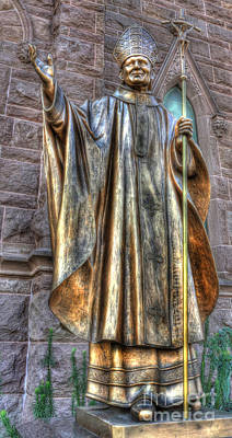 Photograph - Pope John Paul The Great   -    Bronze Statue by Lee Dos Santos