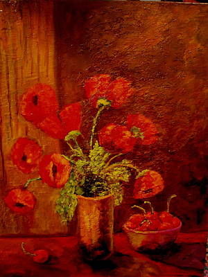 Painting - Poppies And Cherries by Marie Hamby