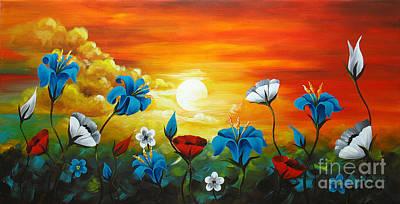 Poppies And Iris Art Print by Uma Devi