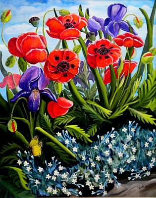 Poppies And Irises Art Print by Renate Nadi Wesley