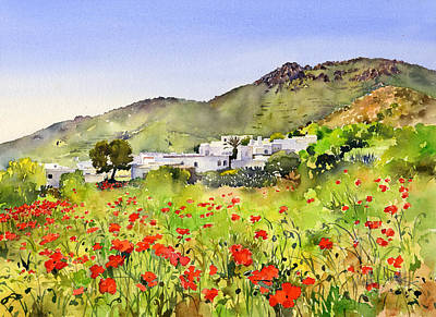 Poppies At Las Hortichuelas Print by Margaret Merry