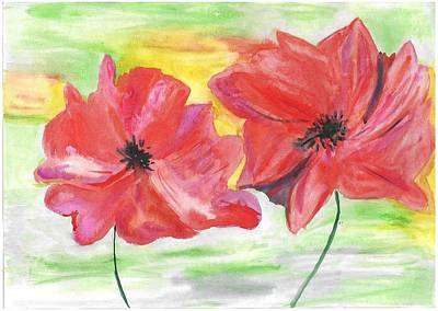 Red Poppies Drawing - Poppies by Jelena Ozola