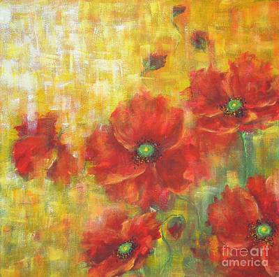 Art Print featuring the painting Poppies On A Sunny Day by Kathleen Pio