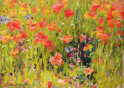 Fields Of Flowers Painting - Poppies by Robert William Vonnoh