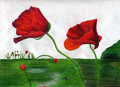 Red Poppies Drawing - Poppies by Sarah Wehener
