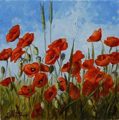 Meadow Painting - Poppies1 by Irek Szelag