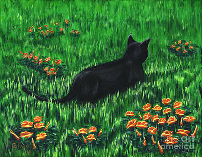 Poppy Cat Art Print by Gail Finn