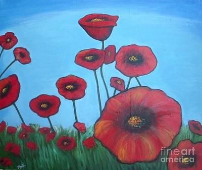 Poppies Field Painting - Poppy Feild by Vesna Antic