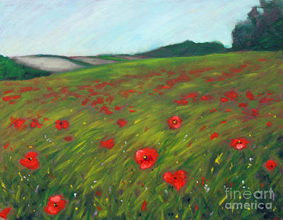 Cloudy Day Painting - Poppy Field by Hilary England