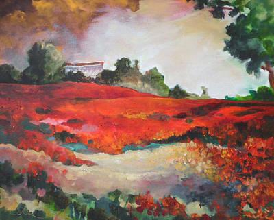 Poppies Field Painting - Poppy Field In La Dehesa by Miki De Goodaboom