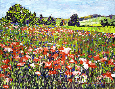 Painting - Poppy Fields In France by David Lloyd Glover