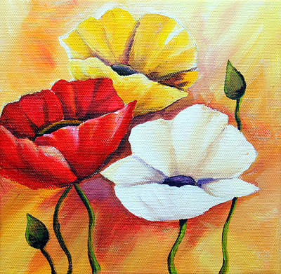 Red Poppies Drawing - Poppy Flowers by Agata Jenko