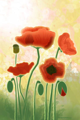 Digital Art - Poppy Mountain Meadow by Melisa Meyers