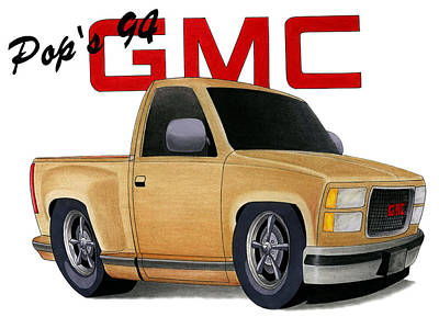 Pop's Gmc Art Print by Lyle Brown