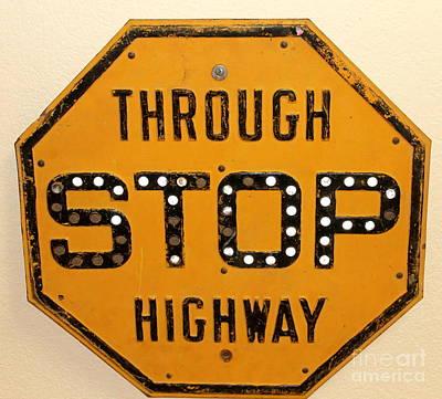 Photograph - Porcelain Reflective Stop Sign by Pamela Walrath
