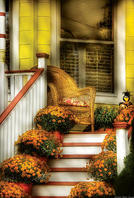 Porch - Westifeld Nj - In The Light Of Autumn Art Print by Mike Savad