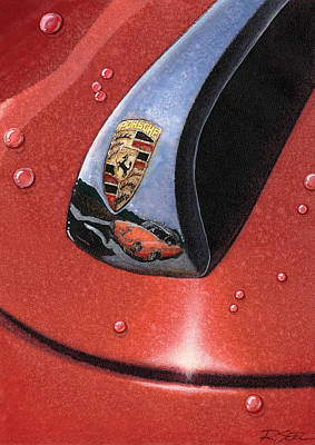 Art Print featuring the painting Porsche 356 Raindrops by Rod Seel