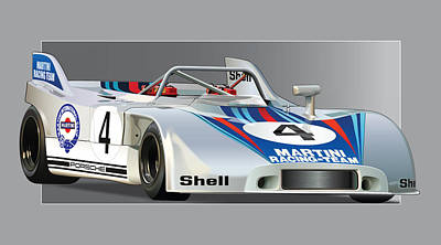 Martinis Digital Art - Porsche 908-3 Martini by Alain Jamar