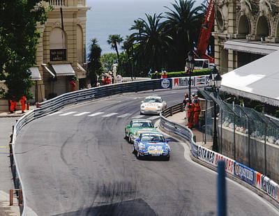 Porsches At Monte Carlo Casino Square Art Print by John Bowers