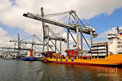 Photograph - Port-industrial 3 - Container Handling by Dean Harte