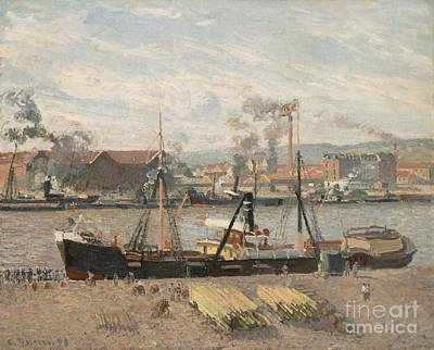 Pisarro Painting - Port Of Rouen by Camille Pissarro