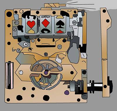 Drawing - Portable Steampunk Slot Machine by Casino Artist