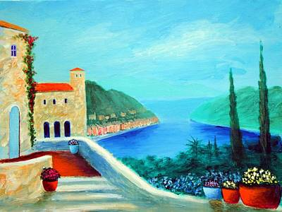 Art Print featuring the painting Portafino Pleasures by Larry Cirigliano