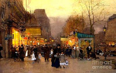 Crowd Scene Painting - Porte St Martin At Christmas Time In Paris by Luigi Loir