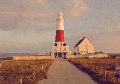 Portland Bill Lighthouse Center Art Print by Nop Briex