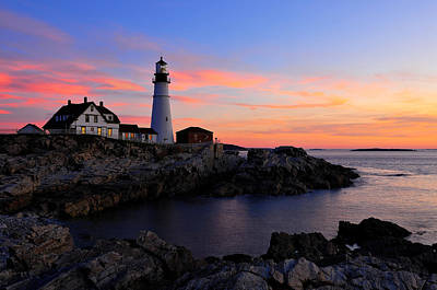 Bath Time Rights Managed Images - Portland Head Light at Dawn Royalty-Free Image by Jack Daulton