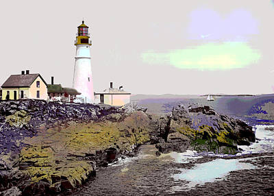 Art Print featuring the mixed media Portland Head Light by Charles Shoup